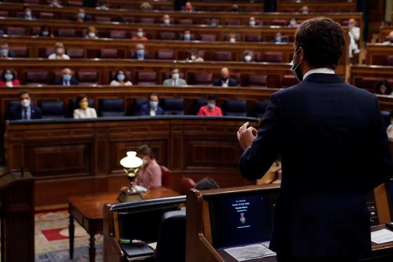 El líder del PP, Pablo Casado durante la sesión de control al Gobierno en el Congreso este miércoles. EFE
