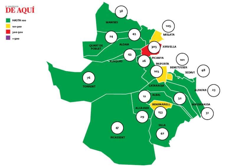 Mapa de incidencia en Horta Sud. EPDA
