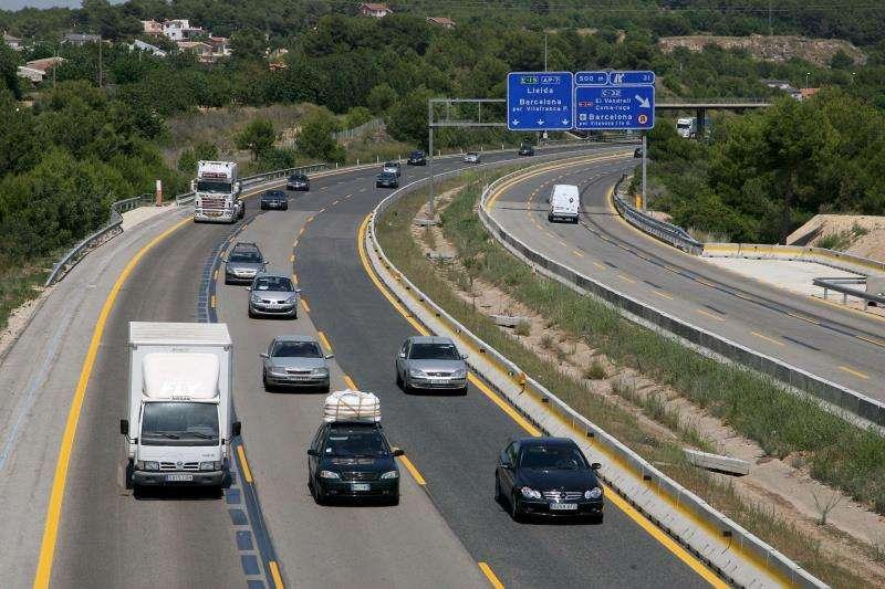 Una imagen de la AP-7, poco después del peaje de El Vendrell, en Tarragona. EFE