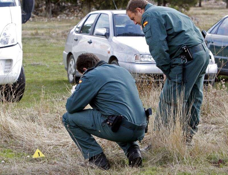 Miembros de la Guardia Civil proceden a la retirada de trozos de comida envenenada tras la muerte de un perro. EFE/Archivo