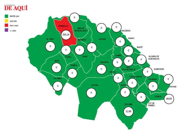 Mapa de la incidencia de coronavirus en la comarca de Alto Palancia según los datos de la Conselleria de Sanitat./ Nacho Ferruses