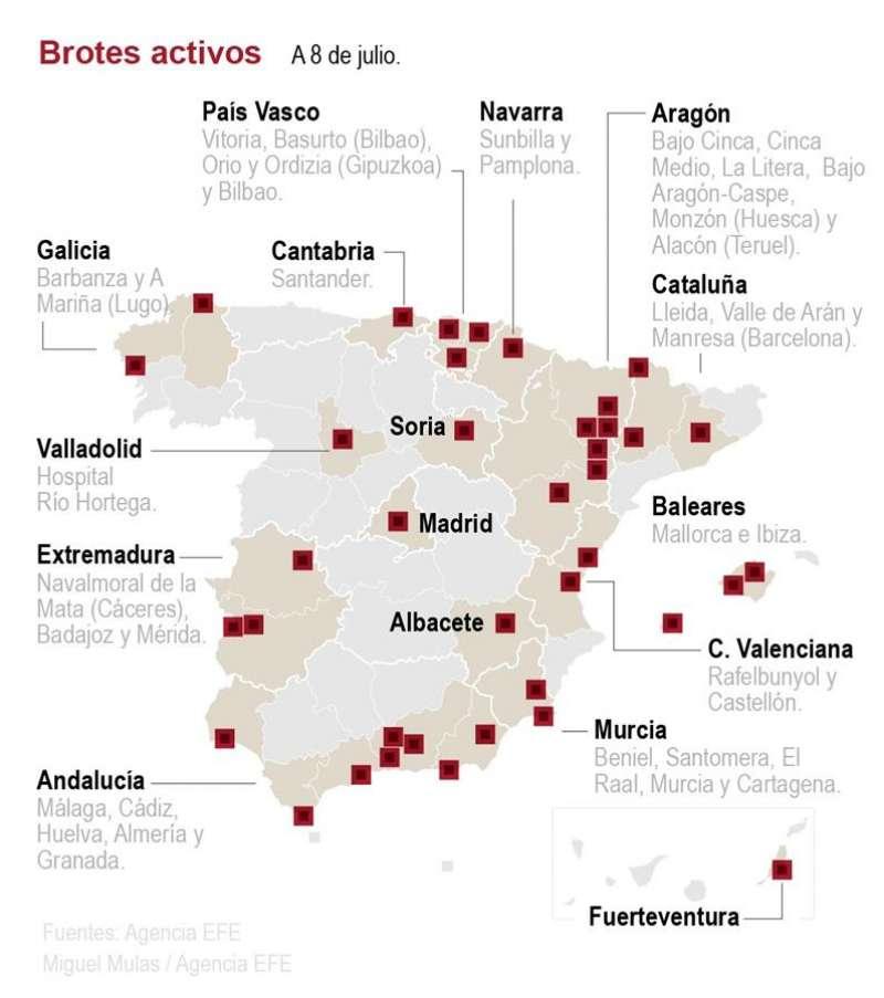 Mapa de los brotes activos en España
