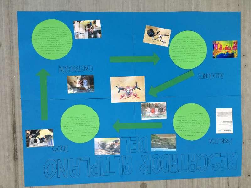 Cartel explicativo dron IES Oleana en la Feria Aérea