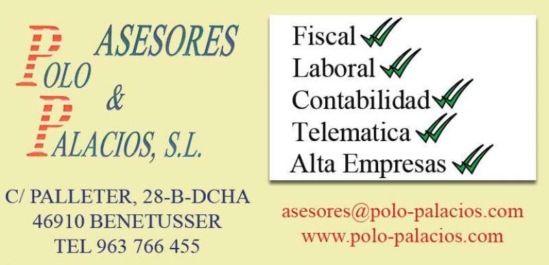 Publicidad de Asesores Polo & Palacios de Alfafar. EPDA