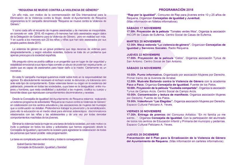 Folleto de las actividades en contra de la violencia de género. FOTO: Ayuntamiento Requena