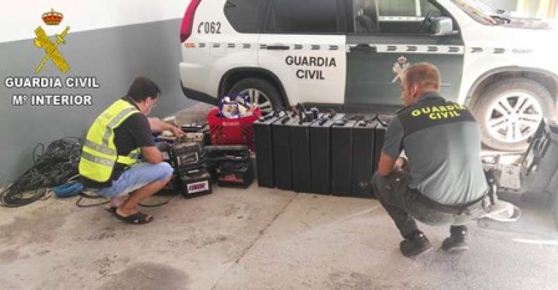 Material intervenido por la Guardia Civil. EPDA