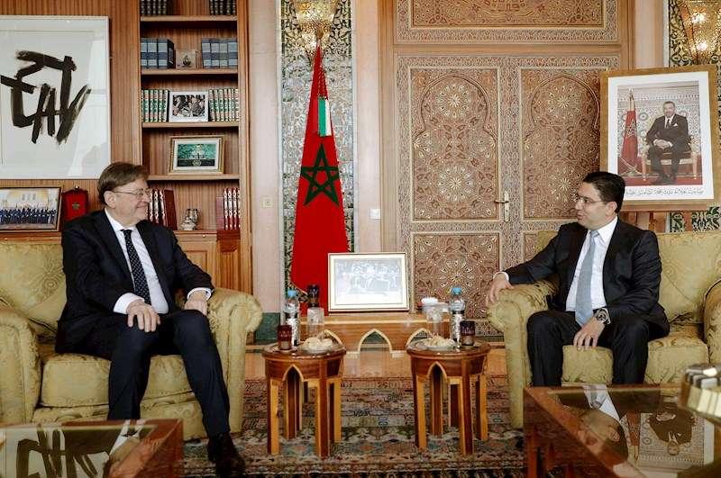 El president de la Generalitat, Ximo Puig, junto al ministro de Asuntos Exteriores marroquí, Nasser Bourita. EFE
