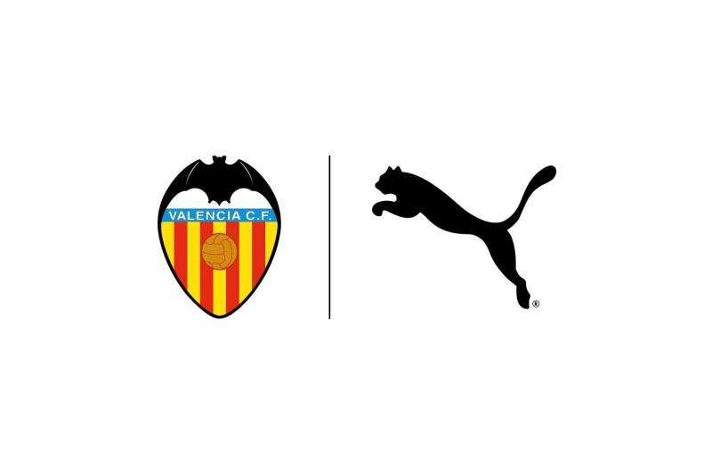 Escudo del Valencia CF junto al logo de Puma.