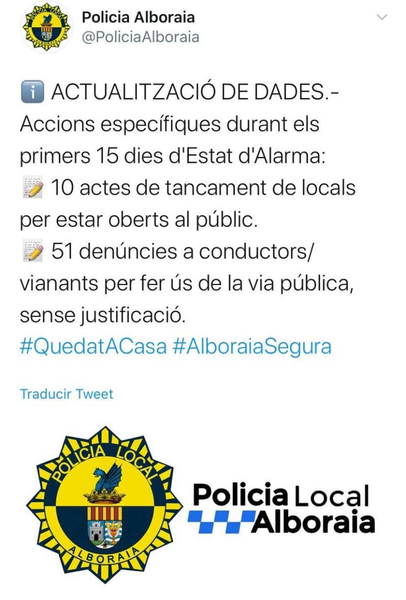 Twitter de la Policía de Alboraia. EPDA