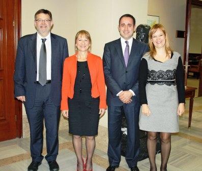 Jorge Alarte con los diputados socialistas valencianos Pajín, Puig y Rodríguez-Piñero. Foto socialistesvalencians.org