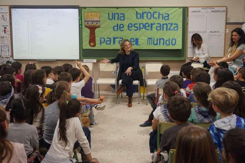 Pilar Mateo, en el CEIP Alfonso X El Sabio