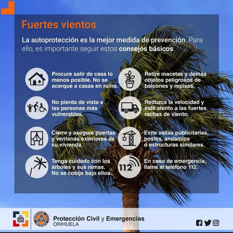 Consejos ante los temporales compartidos por Protección Civil y Emergencias de Orihuela
