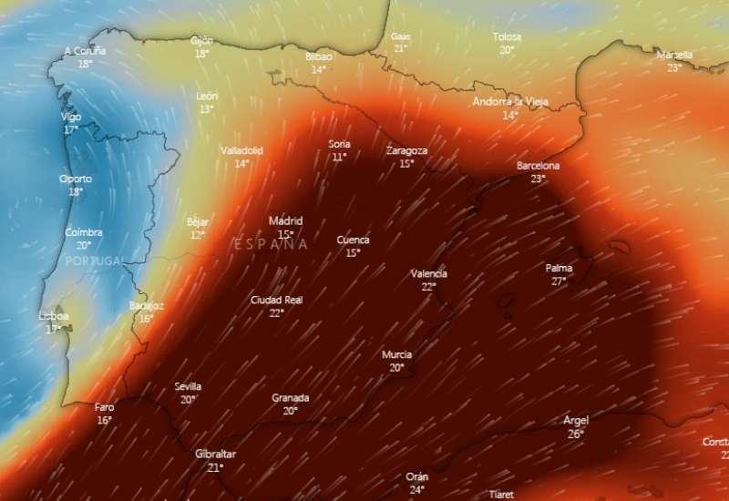 La nube de dióxido del volcán de La Palma sobre la Península Ibérica