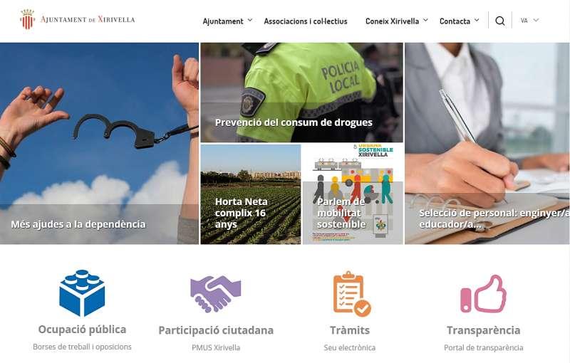 Imatge de la nova web municipal de Xirivella. EPDA