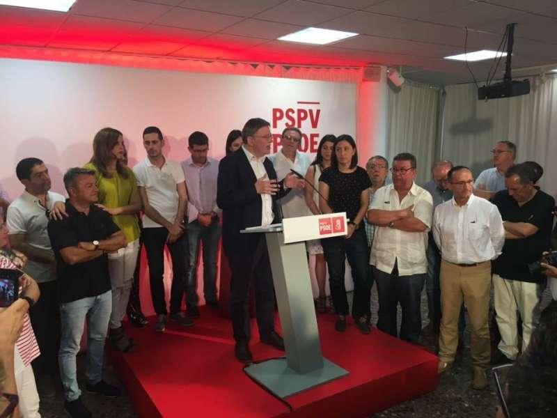 Puig en Blanqueries en su discurso tras conocerse la victoria. FOTO NINET