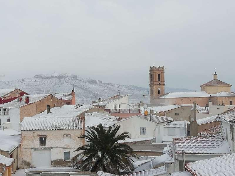Imagen de Camporrobles tras las últimas nieves caídas el pasado mes de febrero. EPDA