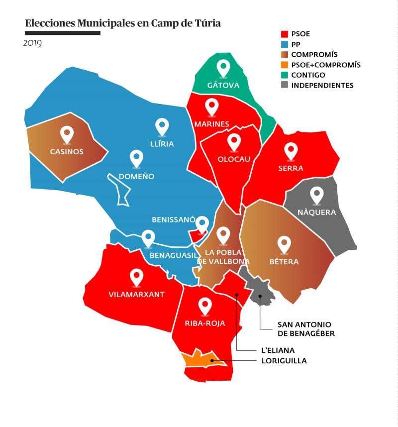 Mapa de la comarca del Camp de Turia con las fuerzas políticas ganadoras en cada municipio. EPDA