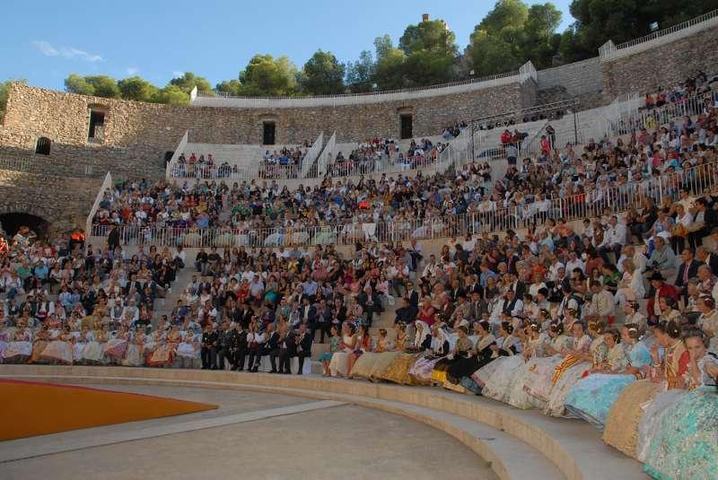 Teatro Romano de Sagunt durante la exaltación de las Falleras Mayores. EPDA