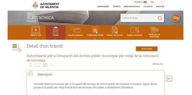 FOTO PÁGINA OFICIAL TRAMITACIÓN TERRAZAS