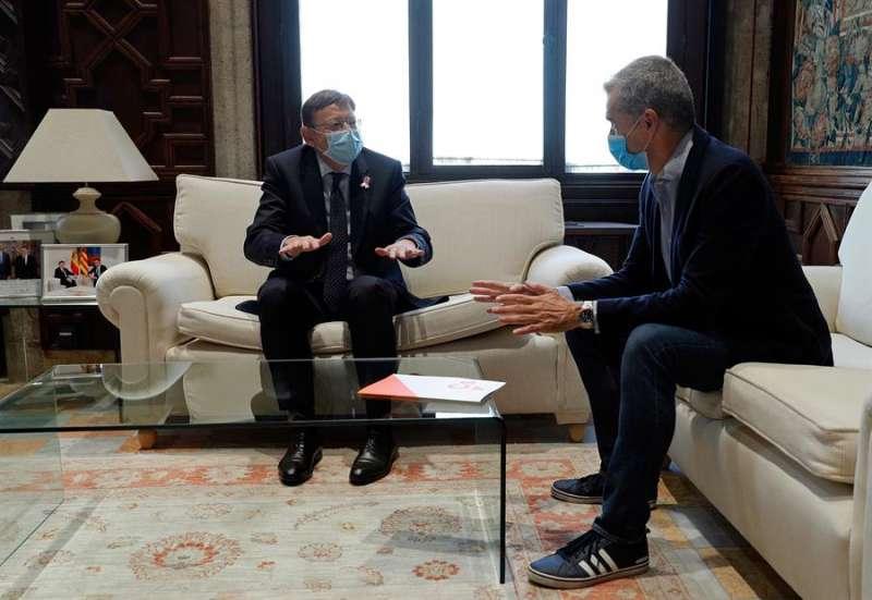 El president de la Generalitat, Ximo Puig, y el síndic de Ciudadanos en Les Corts, Toni Cantó. EFE