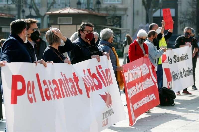 Imagen de la protesta hoy en València / EFE
