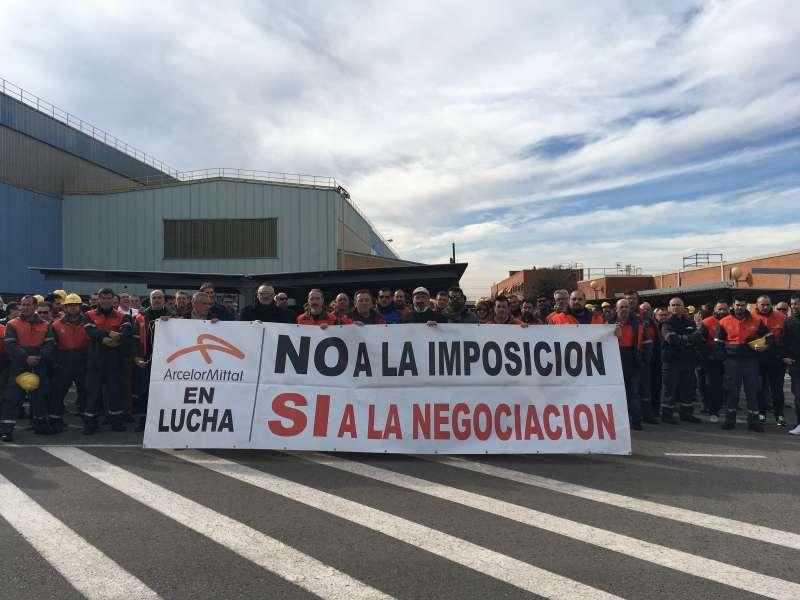 Protesta de los trabajadores de ArcelorMittal de Sagunt. EPDA