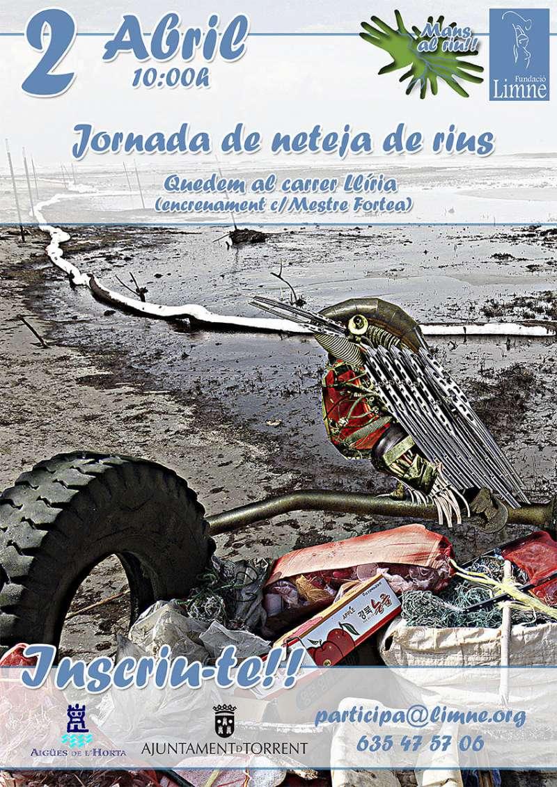 Cartel de la campaña de limpieza de ríos en Torrent. EPDA