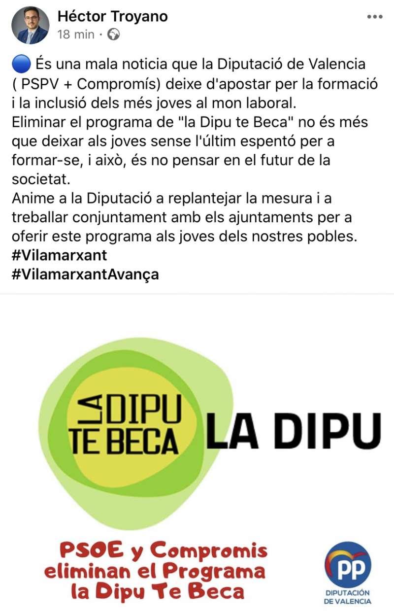 PSOE y Compromis eliminan el programa la Dipu Te Beca. EPDA