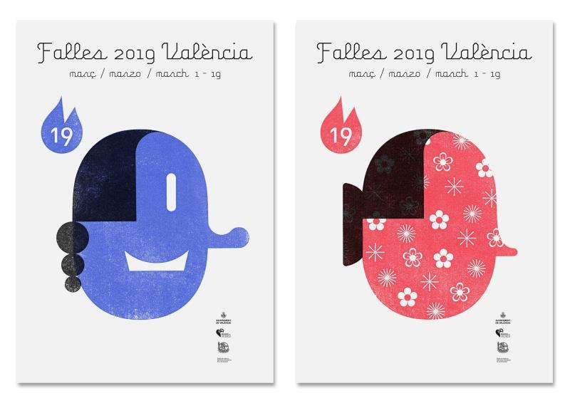 Imagen cedida por el Ayuntamiento de València de Pepet y Floreta, las dos efigies que el diseñador Dani Nebot ha creado para los carteles oficiales de las Fallas 2019. EFE