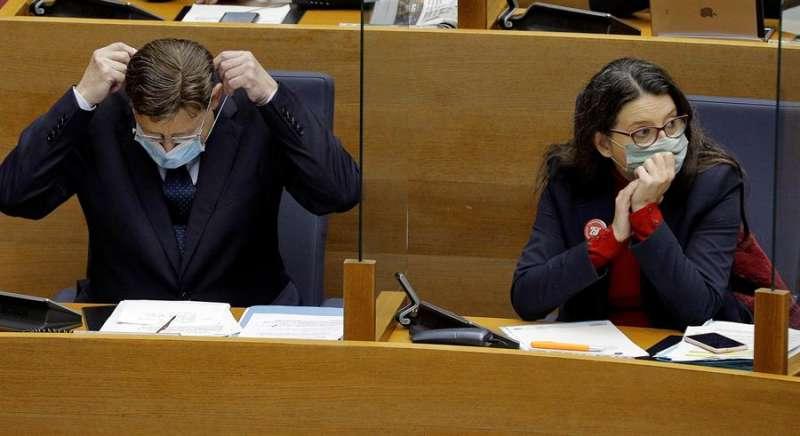 El president del Consell, Ximo Puig, y la vicepresidenta, Mónica Oltra. EFE/Manuel Bruque/Archivo