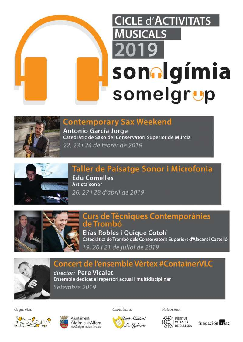 Cartell amb les activitats del cicle Sonalgimia. EPDA