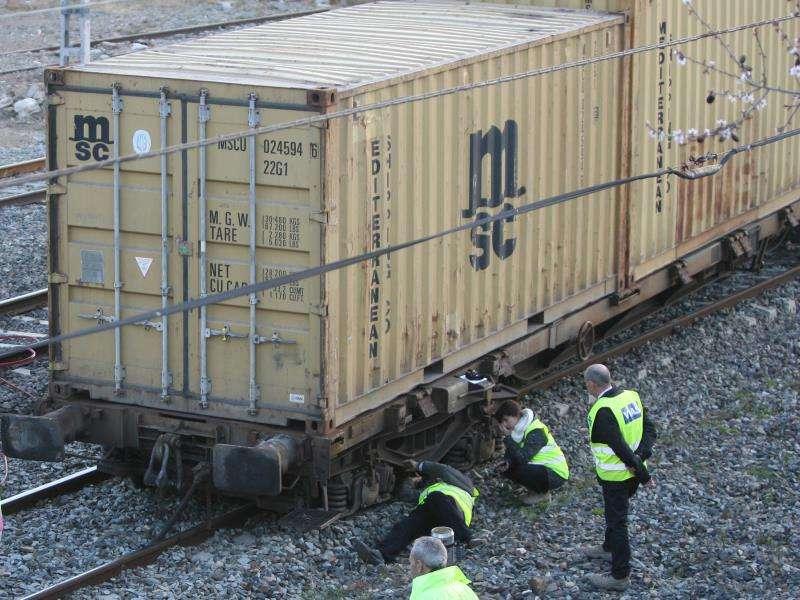 Un tren de mercancías descarrilado. EFE/Archivo