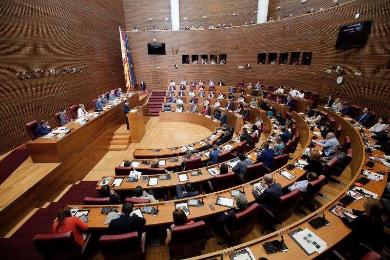 Vista general del hemiciclo durante el discurso de investidura del president de la Generalitat en funciones, Ximo Puig, en Les Corts Valencianes. EFE