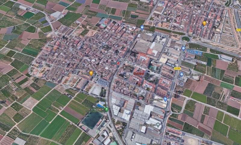 Vista aérea de la localidad de Foios.