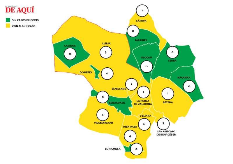 Mapa de casos de Covid-19 el 30 de mazo. EPDA.