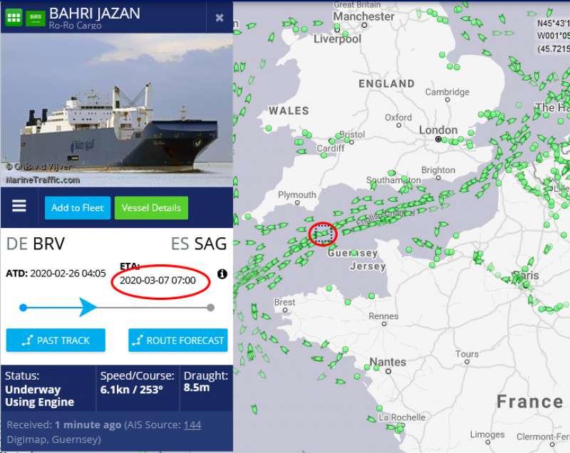 Seguimiento del buque Bahri Jazan