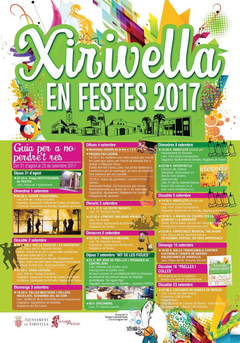 Programació de les Festes de Xirivella 2017. EPDA