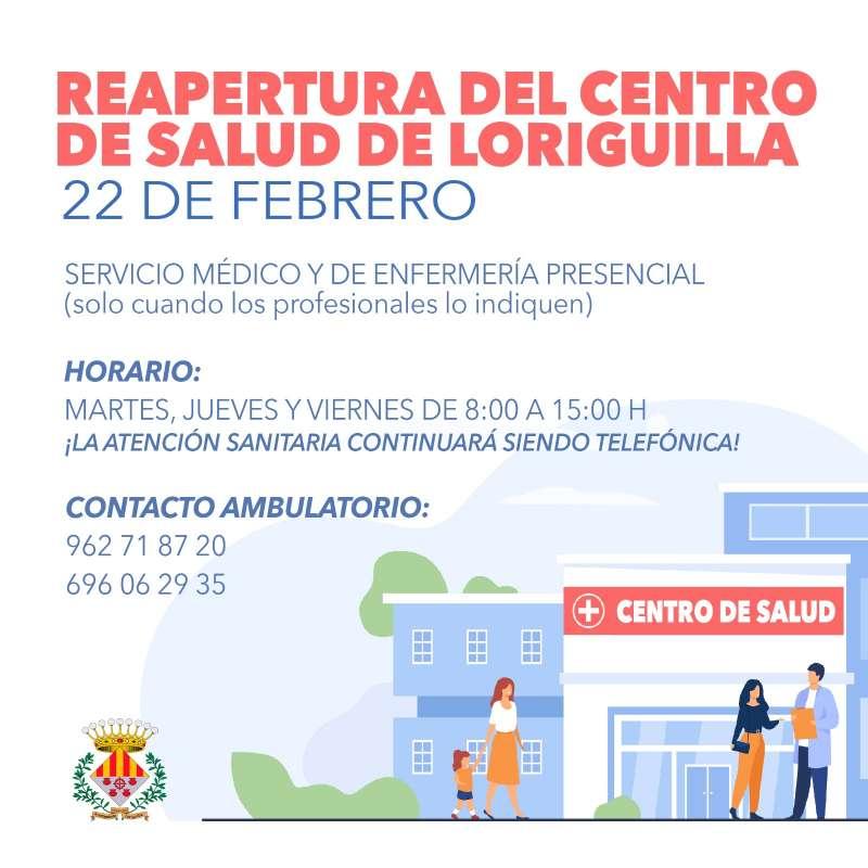 Cartel informativo de la reapertura del centro de salud. / EPDA