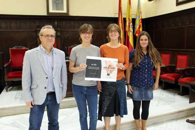 Art al Quadrat con el edil de Cultura y la concejala de Mujer del Ayuntamiento de Sagunt. EPDA