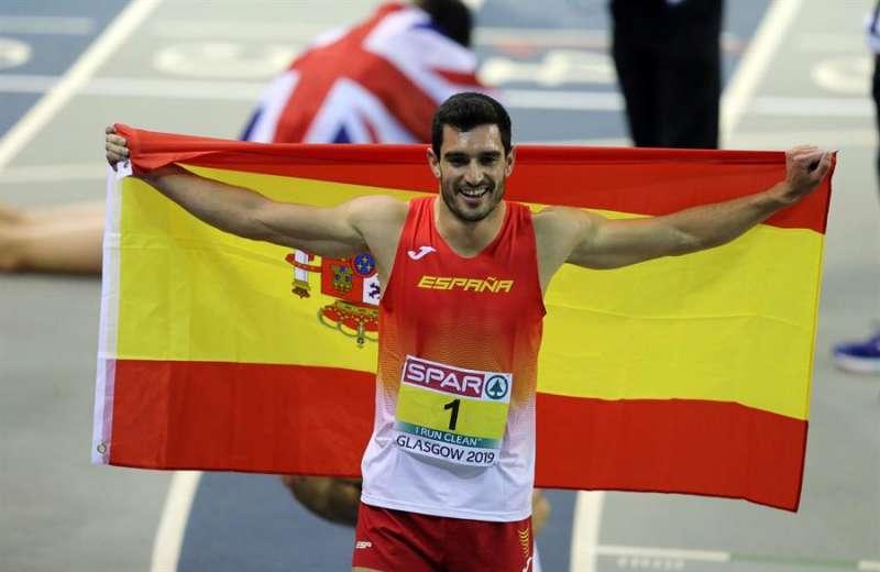 El atleta alicantino Jorge López celebra el campeonato de Europa de heptatlón que ganó en Glasgow 2019. EFE/Archivo
