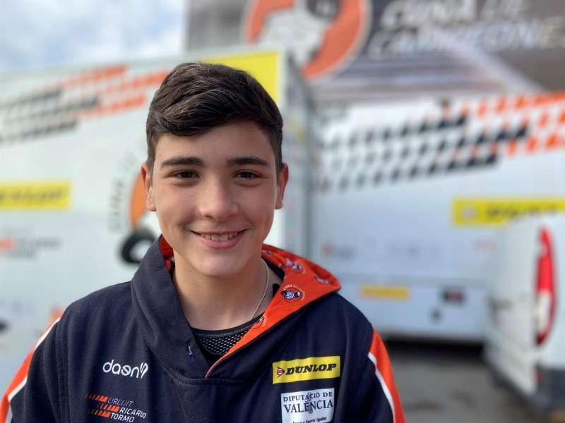 El joven piloto Hugo Millán fallecido tras un accidente en la primera carrera de la HETC en el circuito de MotorLand Aragón, donde se disputaba la quinta ronda del FIM CEV Repsol, Foto cedida por su equipo Cuna de Campeones.