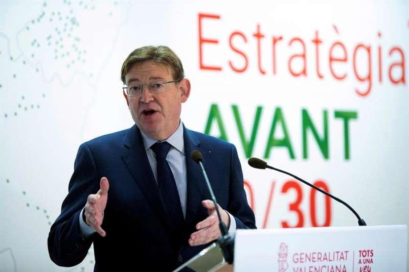 El president de la Generalitat, Ximo Puig, esta mañana en Castelló. EFE