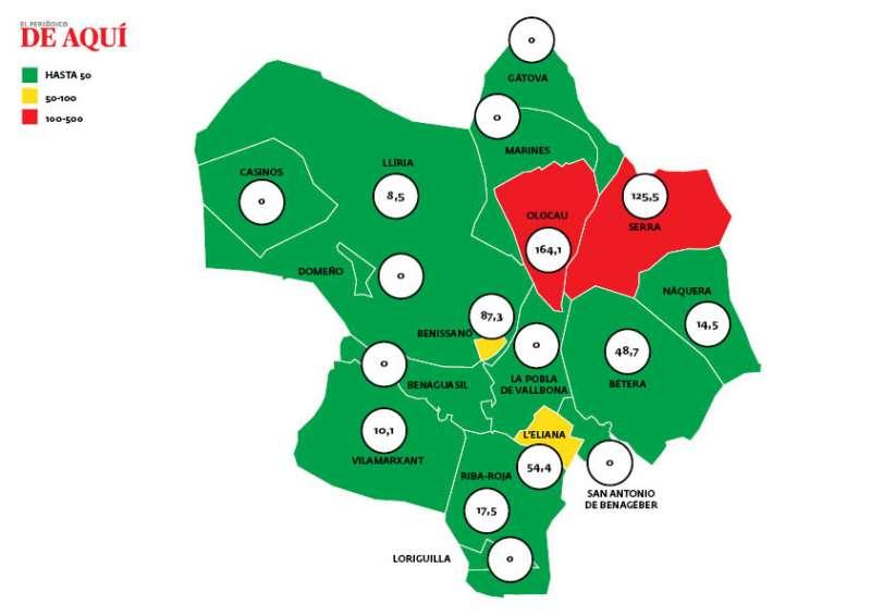Mapa con los últimos datos. EPDA.