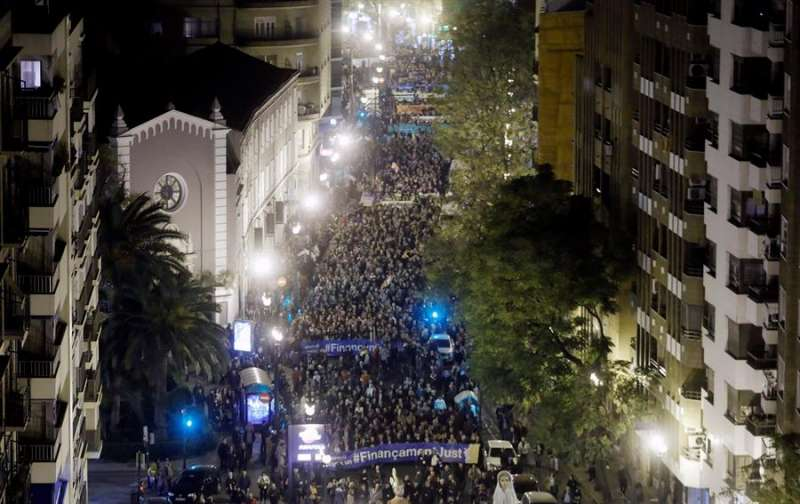 Imagen de la manifestación en València de 2017 por una financiación autonómica justa. - EFE