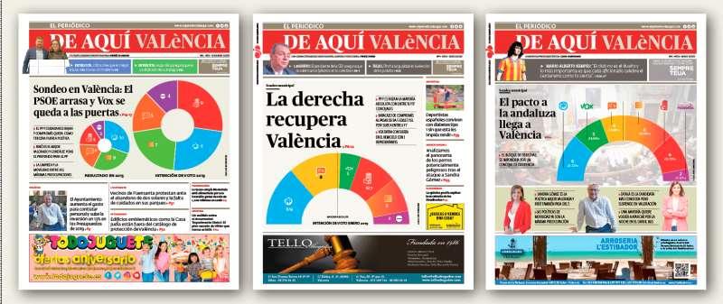 Las tres portadas con las encuestas municipales publicadas en los periódicos de octubre, diciembre y febrero. / EPDA
