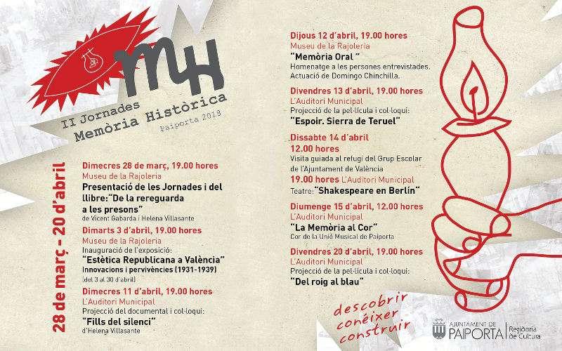 Programa de actividades en las II Jornadas de Memoria Histórica de Paiporta. EPDA