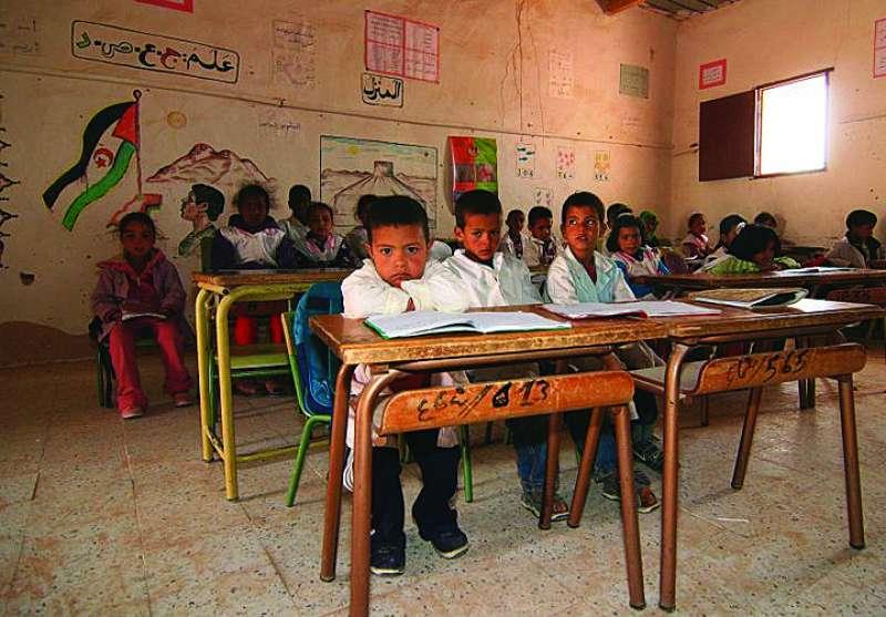 Aula escolar en un campamento saharaui. EPDA