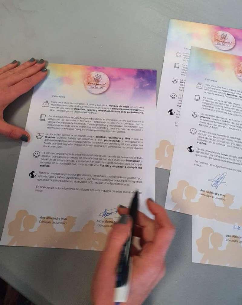 Carta de felicitación enviada a los jóvenes. / EPDA