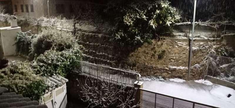 Fuerte nevada en Viver este noche. Foto: V.Martín
