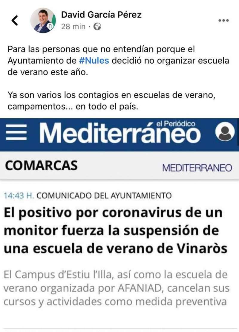 Mensaje del alcalde de Nules en Facebook.